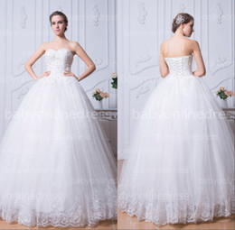 Wholesale 2014 vestido de noiva SSJ In Stock Sweetheart Princess Long Wedding Gown With Appliques Beaded Bridal Dresses BZP0383