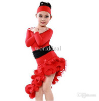 children dance costumes - Sheathy Black Red Round Neck Long Sleeve Falbala Children Latin Dance Dress Skirt Girls Dancing Costumes TLS001