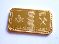 Wholesale Rare Freemasons gold plated oz Bar Masonic Symbols Magnificent bullion Bar