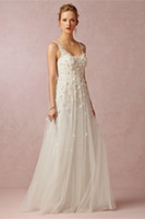 Wholesale 2014 Bridal Dress A Line Scoop Tulle Lace Beach Wedding Gown Beads Flowers Backless Sleeveless Sweep Train BHLDN Custom Made