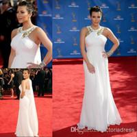 Cheap Sexy Kim Kardashian Red Carpet Evening Dress 2010 Emmy Awards White Chiffon Summer Custom Robe De Soiree 2014 Celebrity Long Prom Dresses