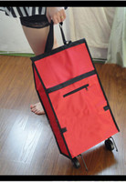 Cheap Wholesale-OP-Free shipping Rolling Foldable Travel folding shopping bag with Wheel,portable shopping cart trolley bag New Arrival canvas