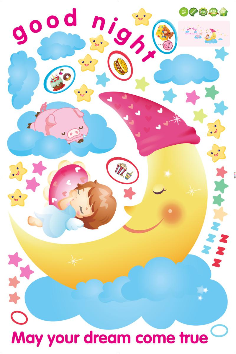 Removable moon girl wall sticker for home decoration home wall decals