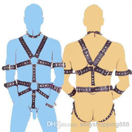 Wholesale Mens PU Leather Sexy Costumes Male Bondage Body Harness Belts with Penis Cock Ring Gay bdsm Slave Restraint Dress Adult Game Wear Sexo