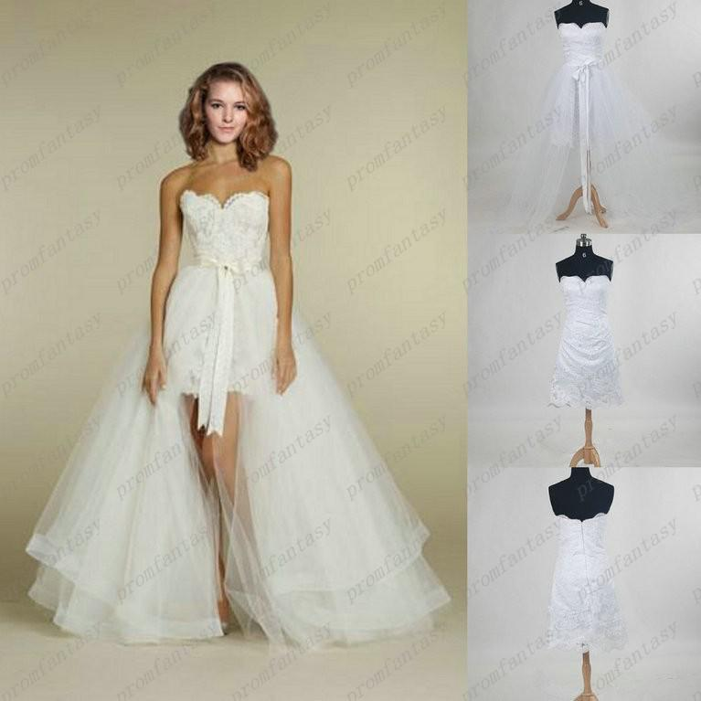 piece detachable train sheer sheath lace tulle wedding dresses 2 in 1