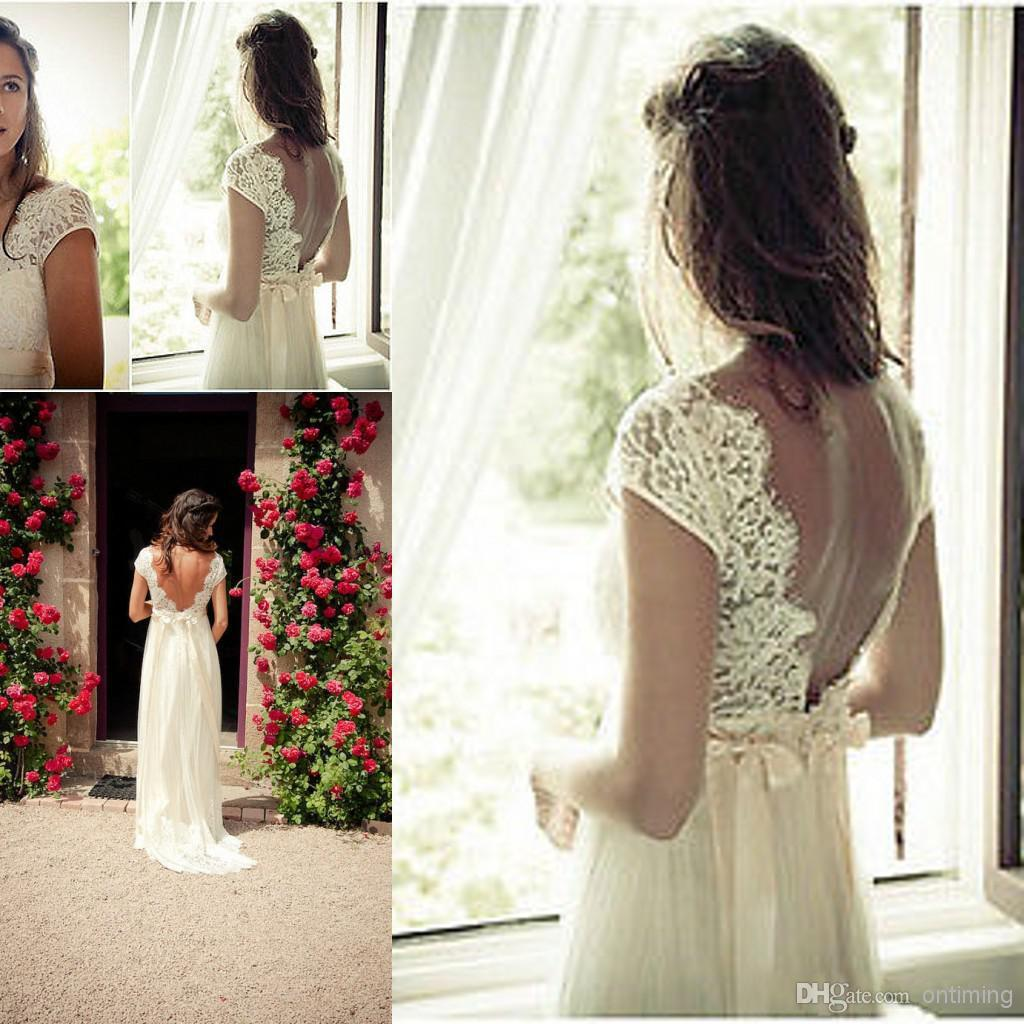 Discount vintage summer beach wedding dresses 2014 with for Vintage summer wedding dresses