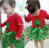 Wholesale Autumn Baby Christmas Clothing One Piece Romper Christmas Tree Wave Point Toddler Girl Romper Rompers Skirt Infant Jumpsuits WD06