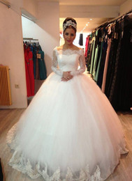 New Arrival Princess Lace Ball Gown Wedding Dresses With Long Sleeves Appliques Elegant Bridal W1245 Custom Made White Off Shoulder Hot