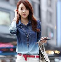 Cheap Blusas Femininas 2014 New Denim Shirt Plus Size Blouse Camisa Jeans Feminina Blusa De Renda Cardigan Women Jeans Shirt T45019