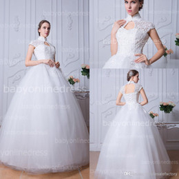Wholesale 2014 Pure White Vintage High Neck Ball Gown Wedding Dresses Cap Sleeves Lace Up Back Lace Appliques Beads Tulle Bridal Gowns BZP0375