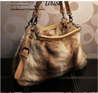 Wholesale 2014 Hot cheap handbag Luxury socialite New winter handbag vintage rivet fur bag shoulder bag handbag