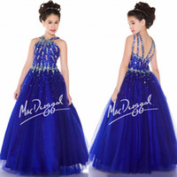 Wholesale 2015 New Halter Royal Blue Crystal Empire Tulle Full Girls Pageant Dresses High Quality Princess Girl Dress