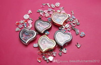 Cheap Wholesale 5 colors mixed Heart Shape magnet glass floating locket fit for floating charms