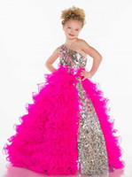 ball gown flower girl dresses - 2014 Girl s Pageant Dresses Cute Princess One Shoulder BlingBling Sequins Pleat Organza Fuchsia White Ball Gown Flower Girl Dresses s