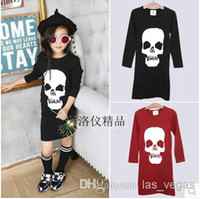 Cheap 2014 Korean grils fashion skull dresses children long sleeve one-piece kids autumn clothing garment wholesale red black dkagmy