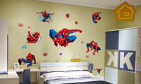 Wholesale Spiderman Stickers For Wall - Free Shipping Spiderman DIY Cartoon Wall Stickers Decal for Boys Room Decor