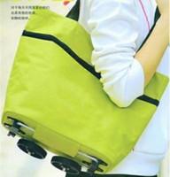 Cheap Wholesale-OP-Hot Sale! Unisex Oxford Cloth Wheel Shopping Bag Baggage Car Bag + Shopping Trolley Bag With Wheels+Dual Reusable Shopping Bags