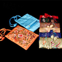 jewelry roll bag - Silk Embroidered Travel Roll Up Jewelry Packaging Bags Storage Case Zipper Drawstring Gift Pouches