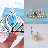 Wholesale Frozen elsa Queen s crown cosplay Coronation crown Headdress tiara gold High Quality Tiaras Hair Accessories