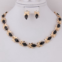 Wholesale Black Color Zircon Beads Necklace Earrings k Gold Plated Clear Crystal African beads Costume Party Zircon Jewelry Sets