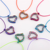 Cheap Wholesale 20pcs lot Heart style Colorful Rhinestones Glass Floating charms locket pendant necklace