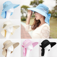 beach headwear - Fashion Women Sun chapeus femininos Foldable Wide Brim sombreros hats Self tie Bow summer hats Headwear H3141