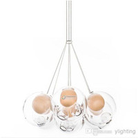 brushed nickel - 28 Series Various Lights Clear Glass Ball Bocci Chandelier BEST QUALITY Sphere Pendant Lamp Ceiling Lighting Brushed Nickel Canopy