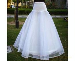 Wholesale Cheap in Stock One Hoops with Bone Tulle Crinoline Full Length A Line White Tulle Train Wedding Dress Slip
