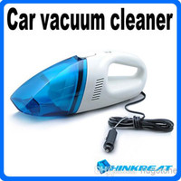 Wholesale Mini High Power Portable V W Car Vacuum Cleaner Blue White Color Dropshipping