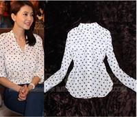 Cheap spring 2014 women blouses long sleeve dots shirt chiffon desigual blusas femininas dudalina free shipping to brazil russia
