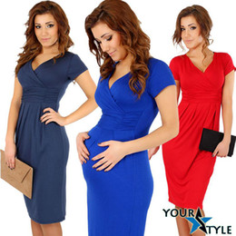 Wholesale 2014 Fashion Women s Maternity Elegant Office Short Sleeve Stretch Dress Tunic V neck DH04