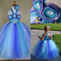 Cheap Cute 2014 Hottest Collection Girl's Pageant Dresses Halter Flowers Colorful Ball Gown Puffy Skirt Princess Little Girls Fashion Party Gowns