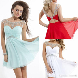 Wholesale Backless Sexy Prom Dresses Sheer Tulle Illusion Cap Sleeves Bateau Neckline Short Aqua Red White Chiffon Homecoming Crystals Cocktail