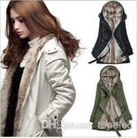 Wholesale New Arrival Faux Fur Lining Women s Beige Fur Coats Winter Warm Long Coat M1201