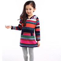 Cheap 4 6 8 10 12 years Girl's sweater for teens spell color hooded sweater cotton colorful striped pullover sweater dress hot sale