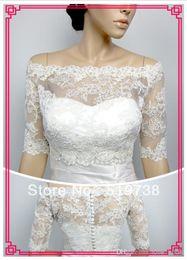 Wholesale Cheap Custom Made NEW White Ivory Applique Off the Shoulder Wedding Shrug Jacket Lace Tulle Bridal Bolero