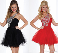 Cheap One-shoulder Short Prom Dresses Tulle Little Black Red Ball Gown 2015 Homecoming Cocktail Bling Bling Crystals Beaded Sequins Corset Ladies