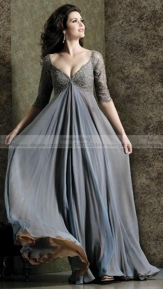 Custom Grey Maternity Formal Dresses Evening Empire Waist V Neck ...