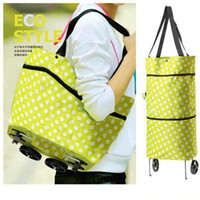 Cheap Wholesale-OP-Free Shipping Portable Shopping Cart,Foldable Shopping Trolley Case Tote Bags With Wheels Rolling Folding Storage Bag