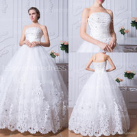 bridal dress china - 2014 New Arrival Lace Wedding Gowns Dress Elegant Strapless Floor length Dress Bridal Dress Big Discount Made in China BZP0384