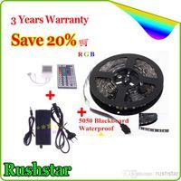 Wholesale Cheap Free ship LED Strips M Flexible RGB LED Light Strip ft SMD M LED Waterproof keys IR REMOTE Controller v a adapter