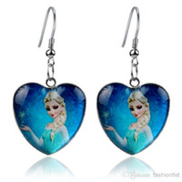 baby earrings sale - Hot Sale Frozen Girls Elsa Anna Baby Kids Dangle Earring Party Drop Earrings Heart Pendant Earring Jewelry Styles