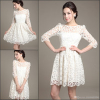 Cheap sg New Spring 2014 Fashion Elegant Cocktail Dresses Sheer Women Lace Casual Dress Sexy Summer White Party Gowns Plus Size Work Wear Clothes