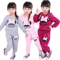 Wholesale 2014 Autumn Baby Girls Kids Cotton Bowknot Hoodie Sports Wear Tracksuit Clothes Pants Outfit DH04