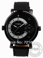Cheap 30pcs Free Shipping Oulm 028 Double Time Show Metal Dial Male Quartz Wrist Watch Japan Movt Black Leather Band for Man-J