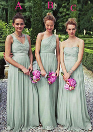 cheap 2014 size color available different style vestido de madrinha de casamento longo chiffon mint green bridesmaid dresses floor length - Bridesmaid Dresses Same Color Different Style