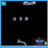 shower mixer - New Bathroom quot LED Shower Head Wall mount shower mixer concealed faucet set Handles