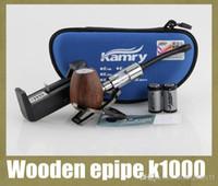 Wood Single Wooden epipe k1000 Wooden epipe k1000 epipe K1000 Mod Electronic Cigarette kit 900mah Battery K1000 Tank Atomizer Huge Vapor K1000 Zipper Case TZ119