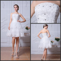 short strapless dress - 2014 Sexy New Strapless Lace A Line Short Wedding Dresses Tulle Applique Beaded Knee Length Bridal Gowns With Lace Up BZP0376