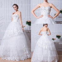 Wholesale 2015 Vintage White Lace Ball Gown Wedding Dresses Strapless Appliques Beads Sequins Layered Tulle Bridal Gowns with Corset Back BZP0385